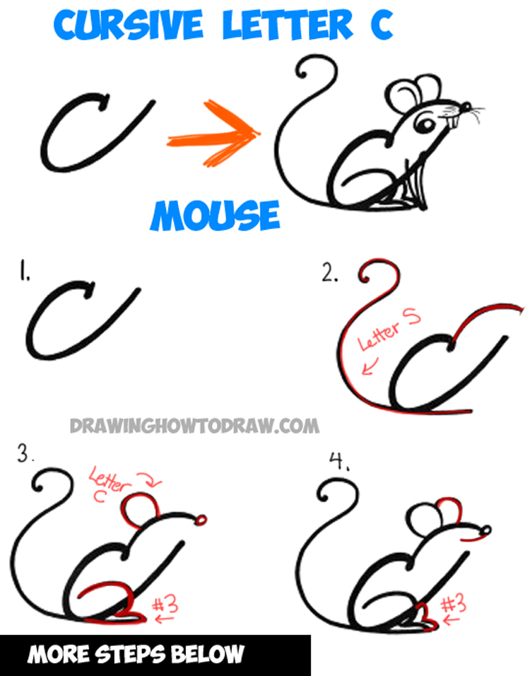 How to Draw a Cartoon Mouse from Cursive Letter A Shape : Drawing Tutorial for Kids