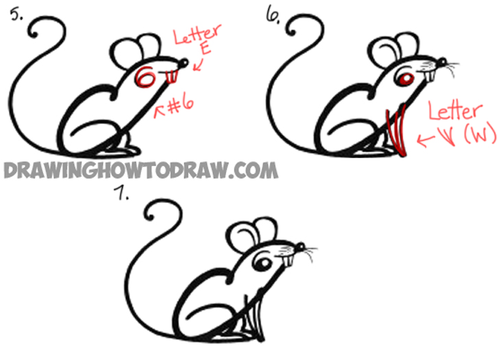 Draw a Mouse from Cursive Letter A Shape