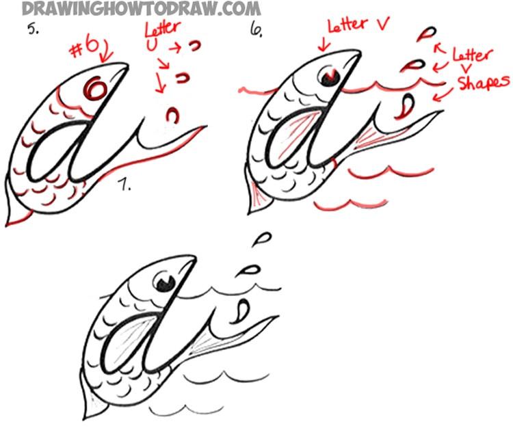 drawing cartoon fish with cursive letter d