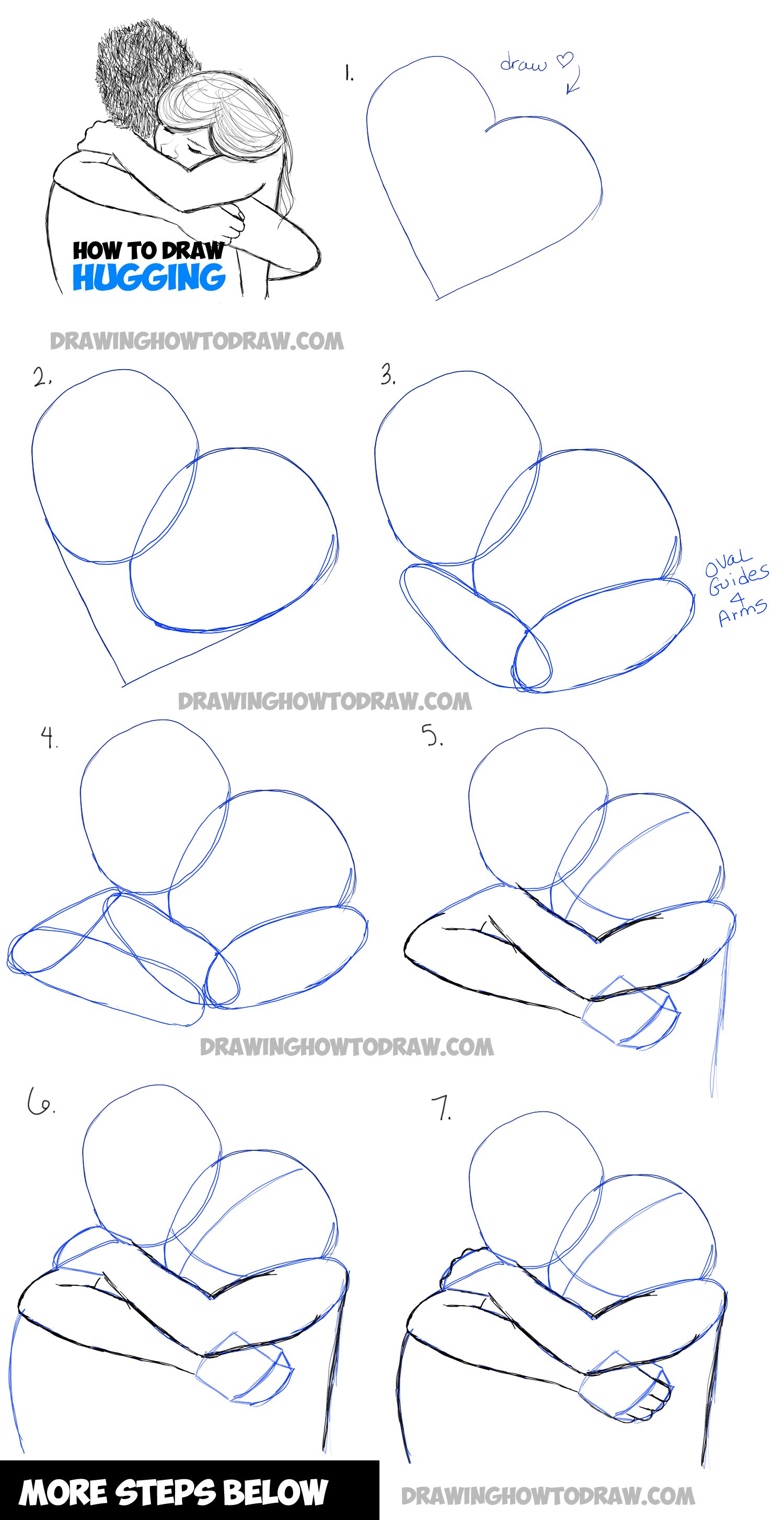 Drawing a couple hugging two people hugs in easy steps