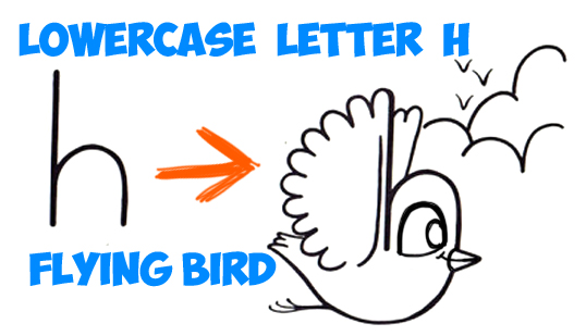 learn to draw a cartoon bird from a lowercase letter h in simple steps