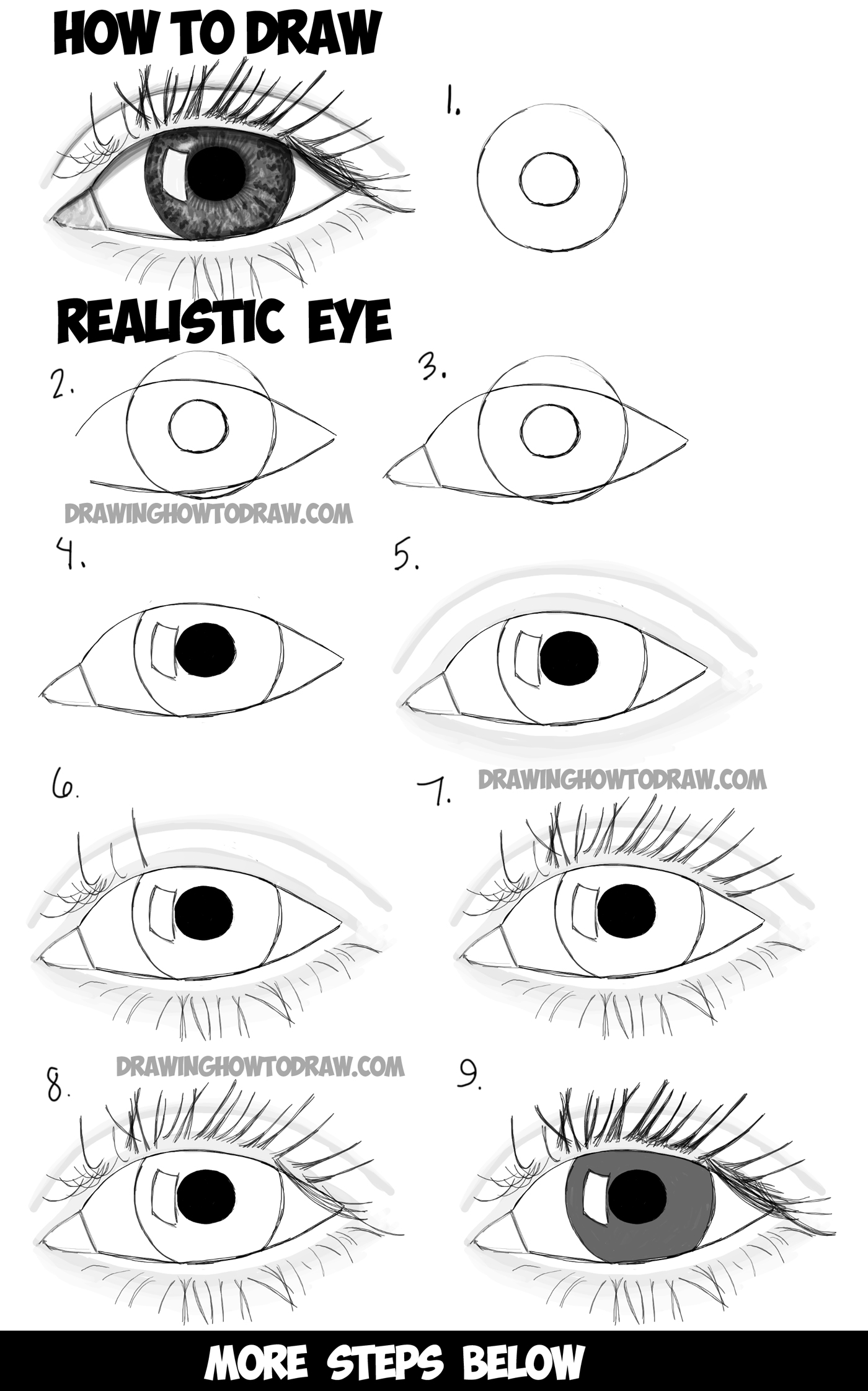 Draw Realistic Eyes with Step by Step Drawing Tutorial in Easy Steps ...