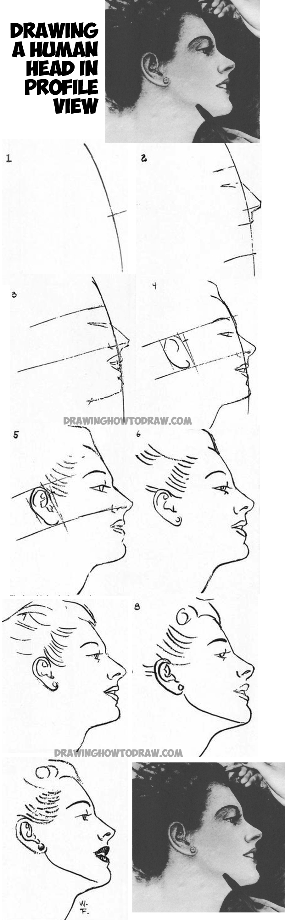 learn how to draw the human head - female face - in profile - from the side