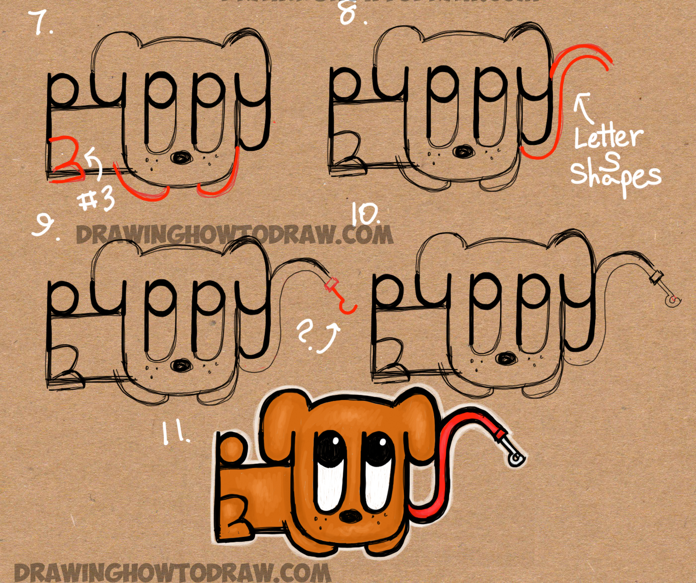 learn how to draw cartoon puppy from the word puppy
