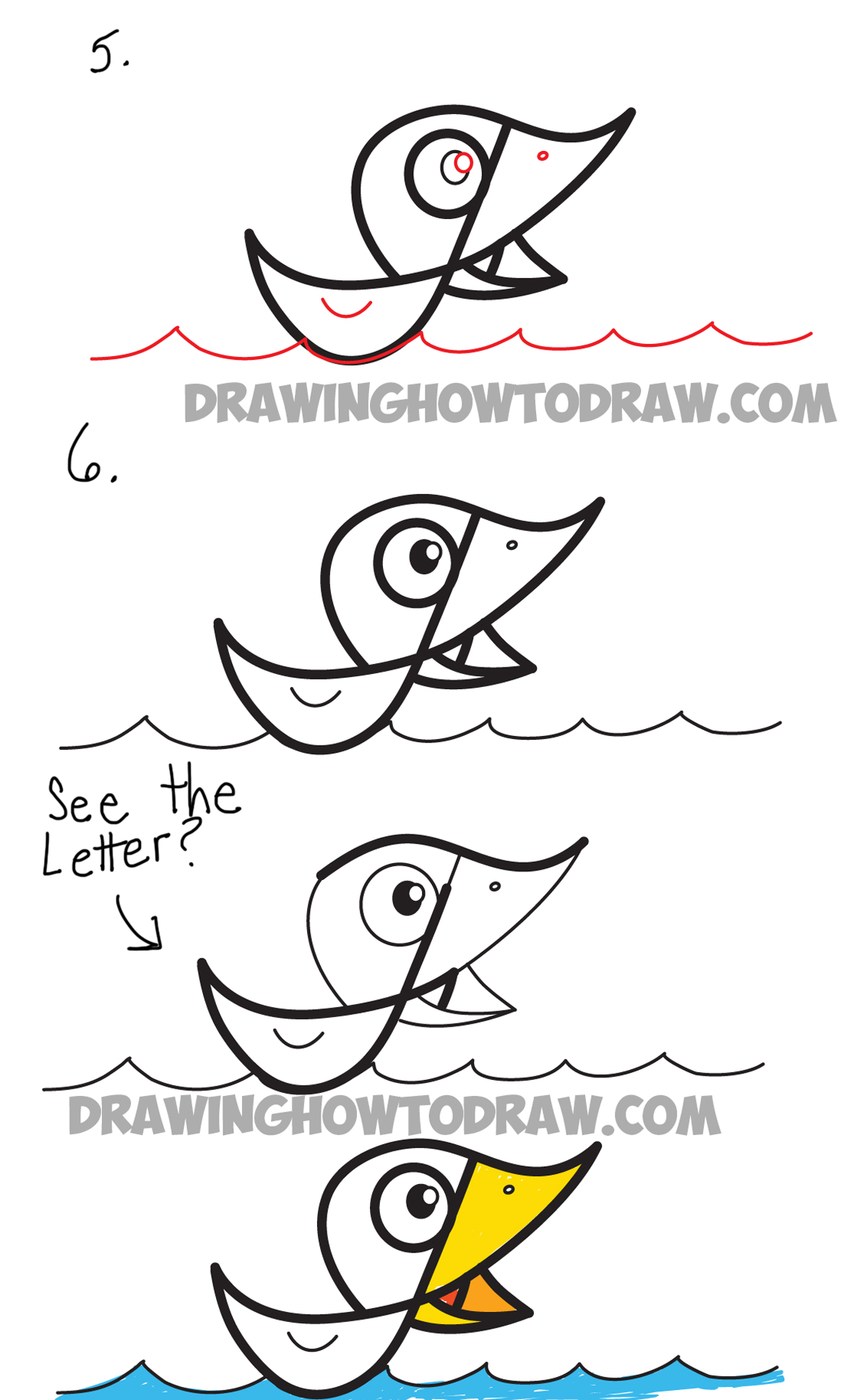 drawing a cartoon duck from cursive letter F step by step drawing instructions