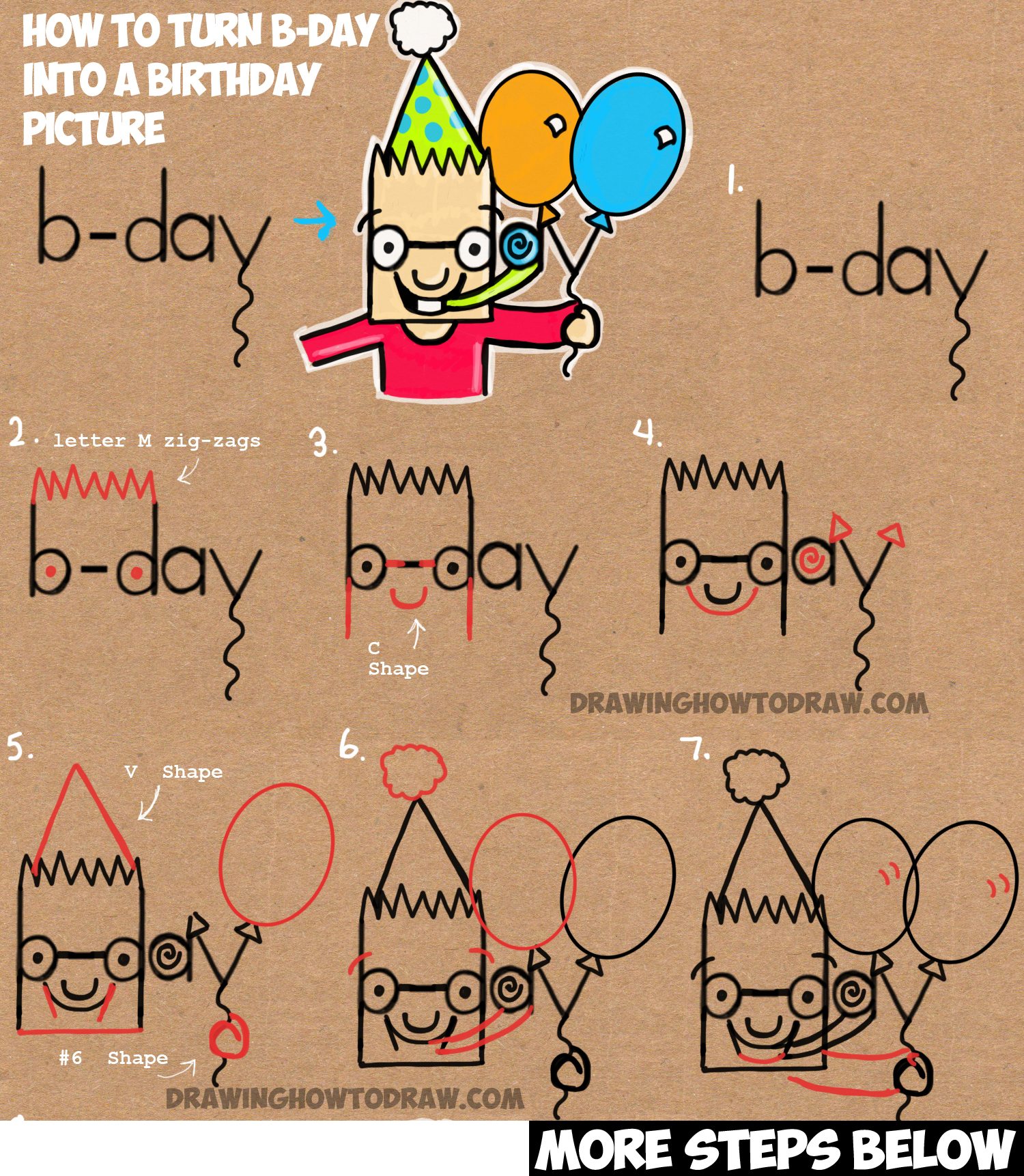 How To Draw Cartoon Birthday Party Boy Holding Balloons From The
