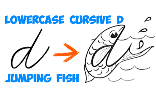 how to draw a cartoon fish from a cursive letter d