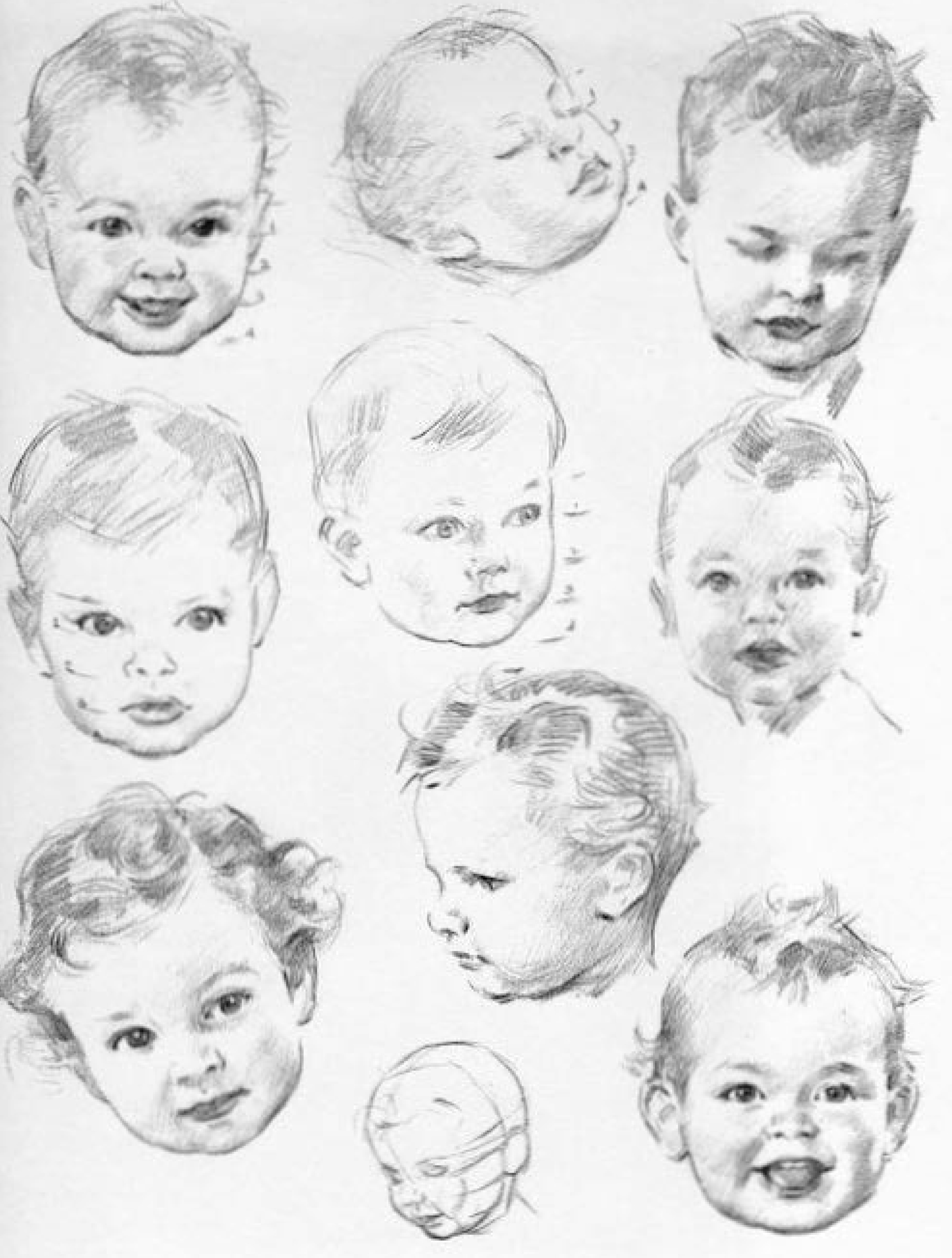 Line Drawing Baby Face : How to draw baby and toddlers heads in the correct
