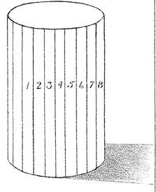 cylinder faces 1, 2, 3, 4, 5, 6, 7, 8 should become darker and darker as they turn from the light