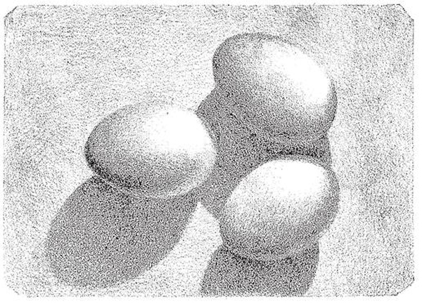 shading-eggs-Darken the shades near their left edges, and graduate towards the reflected light.