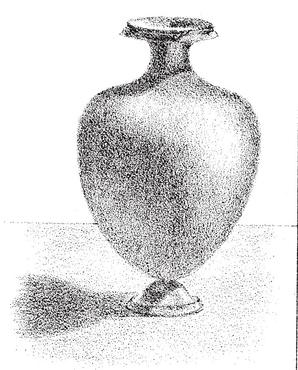 shading-vases-Mark the outline of the shade. Shade the cast- shadows, of which the darkest will be that thrown by the rim.