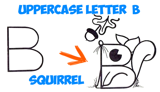 How To Draw A Cartoon Squirrel From An Uppercase Letter B