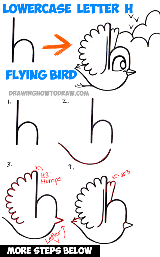How to draw a flying cartoon bird from a lowercase letter h shape easy step