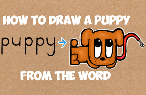 How to draw a puppy from the word puppy word toons tutorial