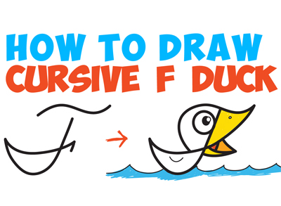 drawing cartoon duck from cursive letter F drawing lesson for children