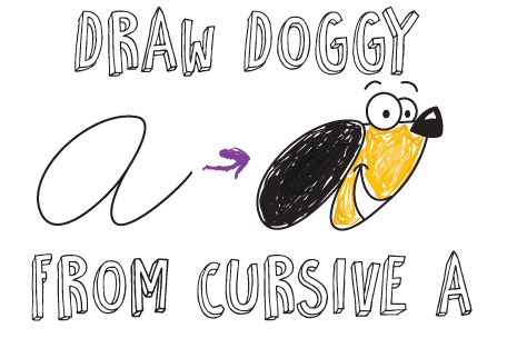 How to draw a simple cartoon dog with cursive letter A shapes
