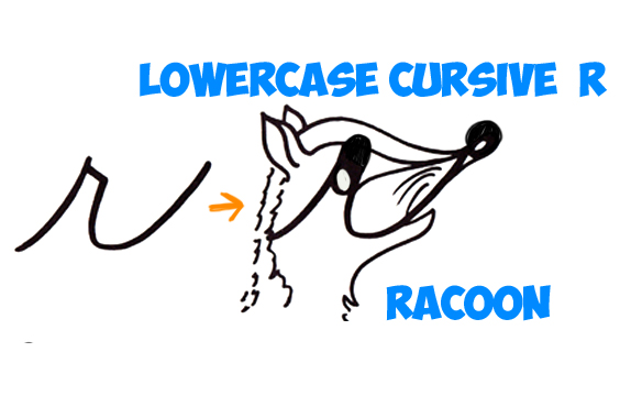 learn how to draw a raccoon from a lowercase letter r in easy steps