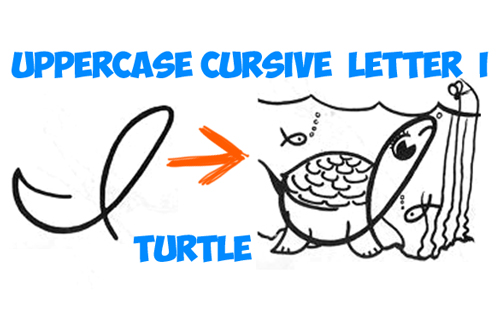 learn how to draw a cursive letter I Turtle