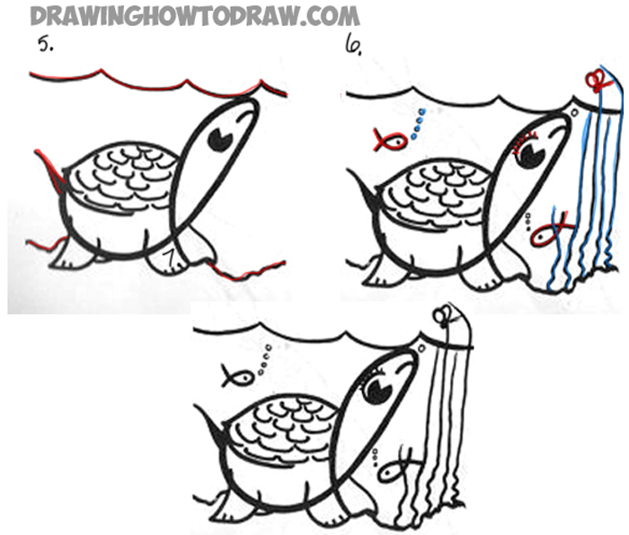 Learn to draw a cartoon turtle with a cursive letter I