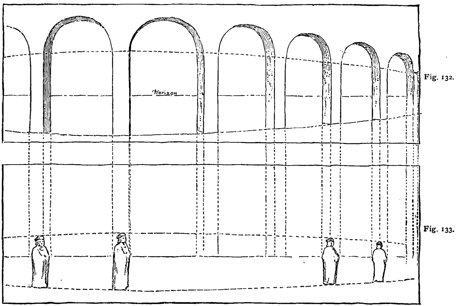 proportions of the figures had been determined by applying the principles of plane perspective