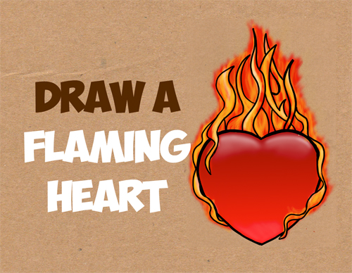 how to draw a flaming heart