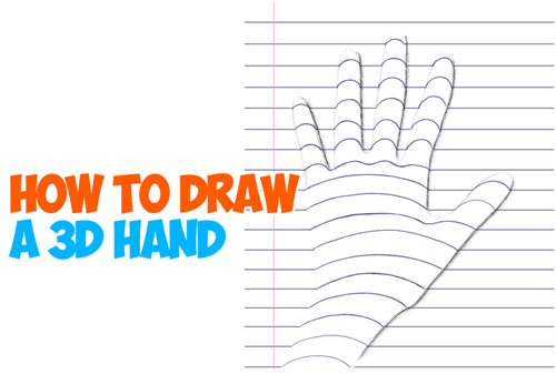 fun drawing trick for drawing 3-dimensional hands on notebook paper