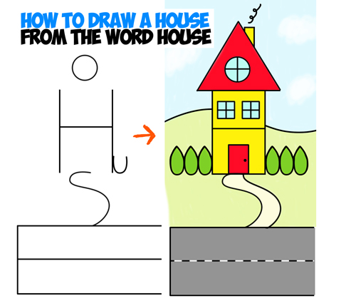 drawing cartoon house with fun simple word cartoons lesson