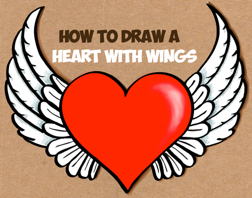 how to draw a winged heart - heart with wings