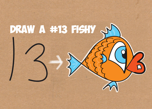 How To Draw A Cartoon Fish From The Number 13 Easy Tutorial For