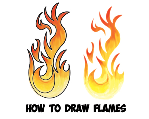 how to draw flames and fire