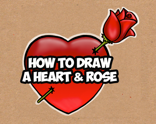 Learn How to Draw a Heart with a Rose - Easy Step by Step Drawing Tutorial