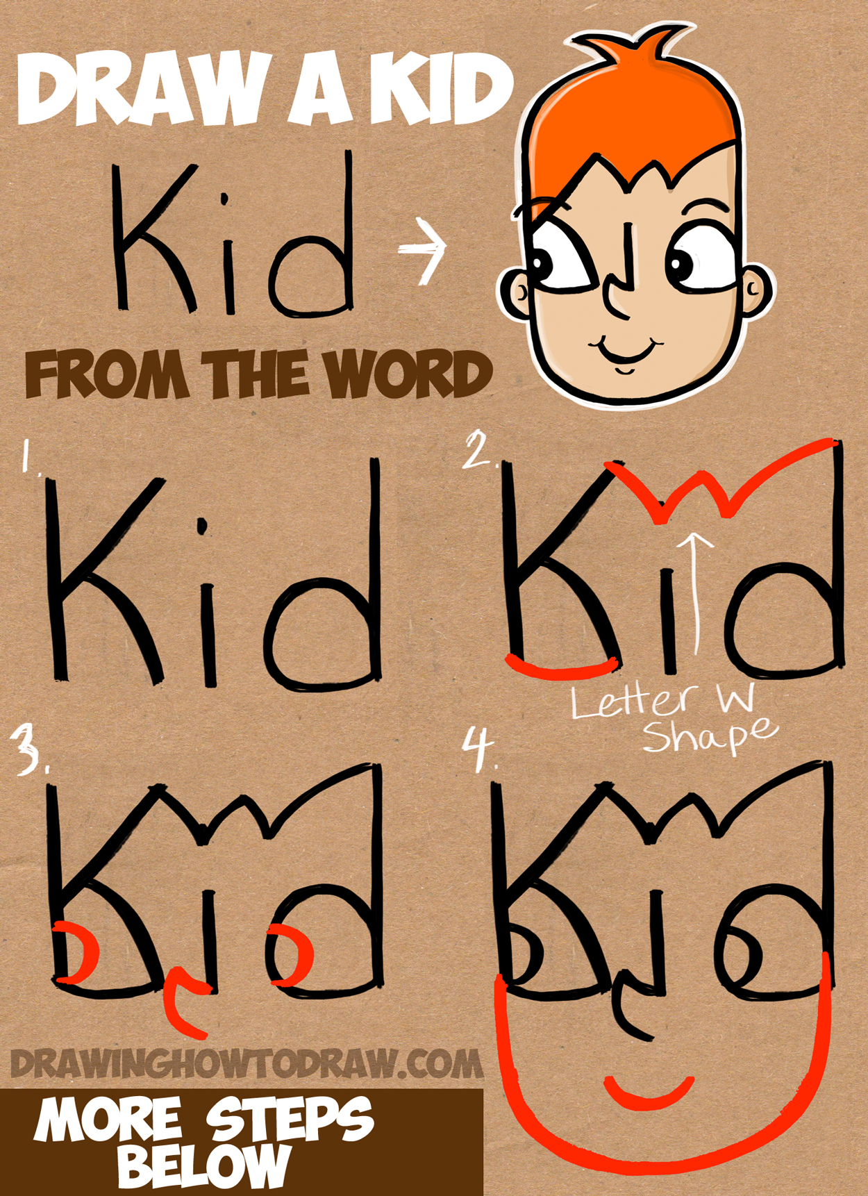 learn how to draw a cartoon kid from the word kid simple step by step - Easy Drawing Pictures For Kids
