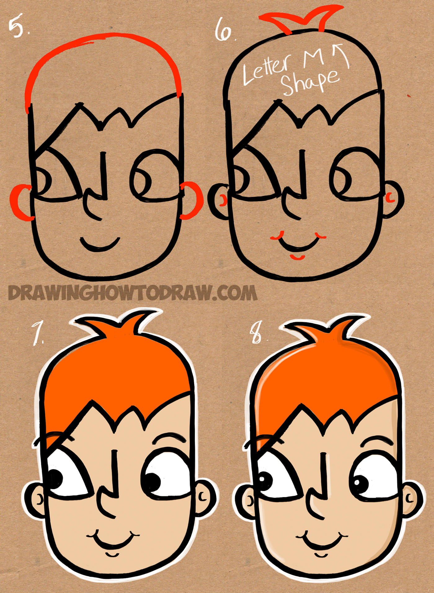 learn how to draw a cartoon kid from thew word kid