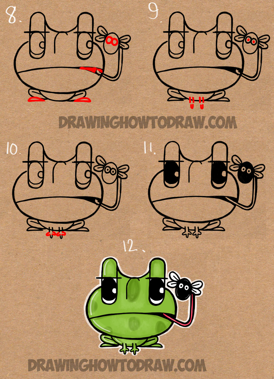 how to draw cartoon frogs from the word frog easy step by step