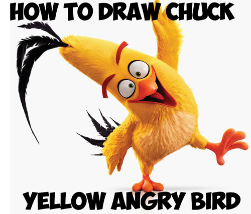 learn how to draw chuck the yellow birds from angry birds movie simple steps lesson