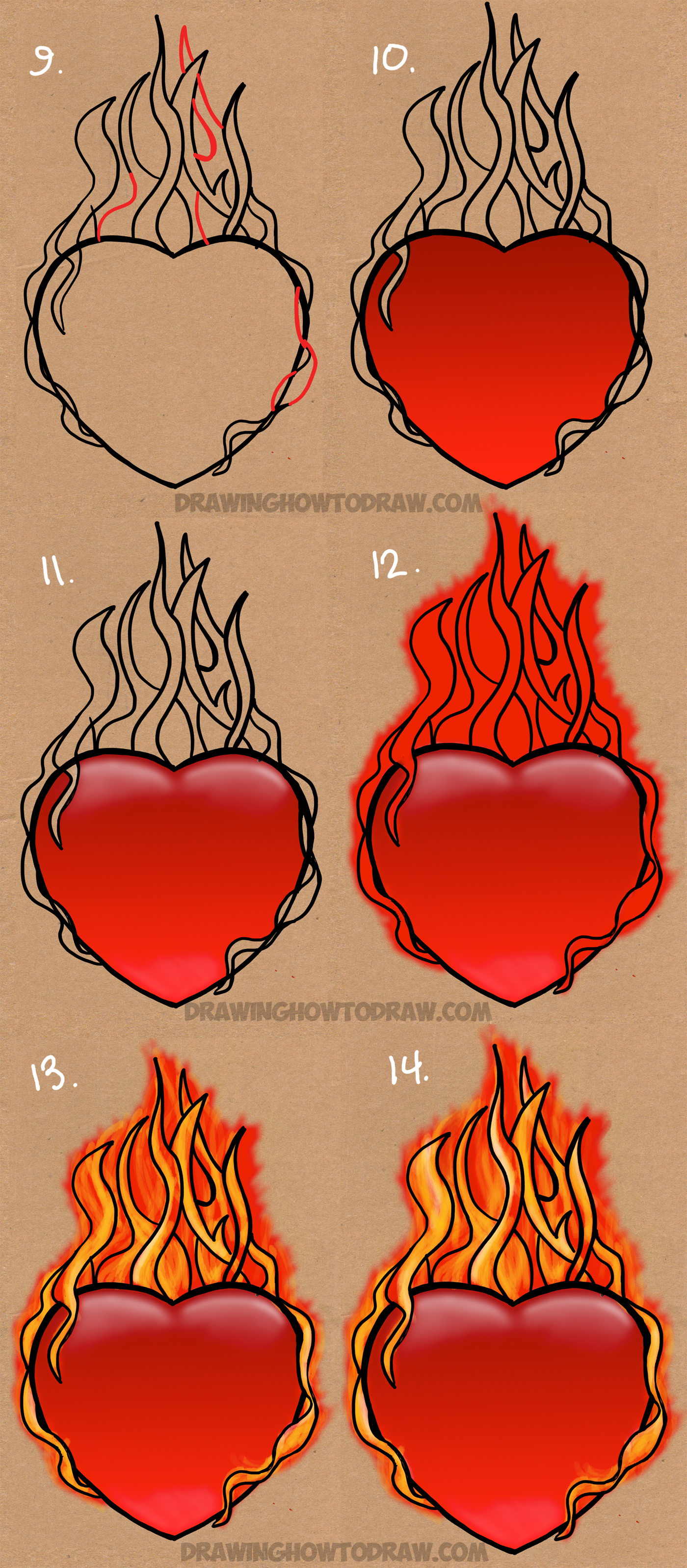 How to Draw a Flaming Heart on Fire with Step by Step ...