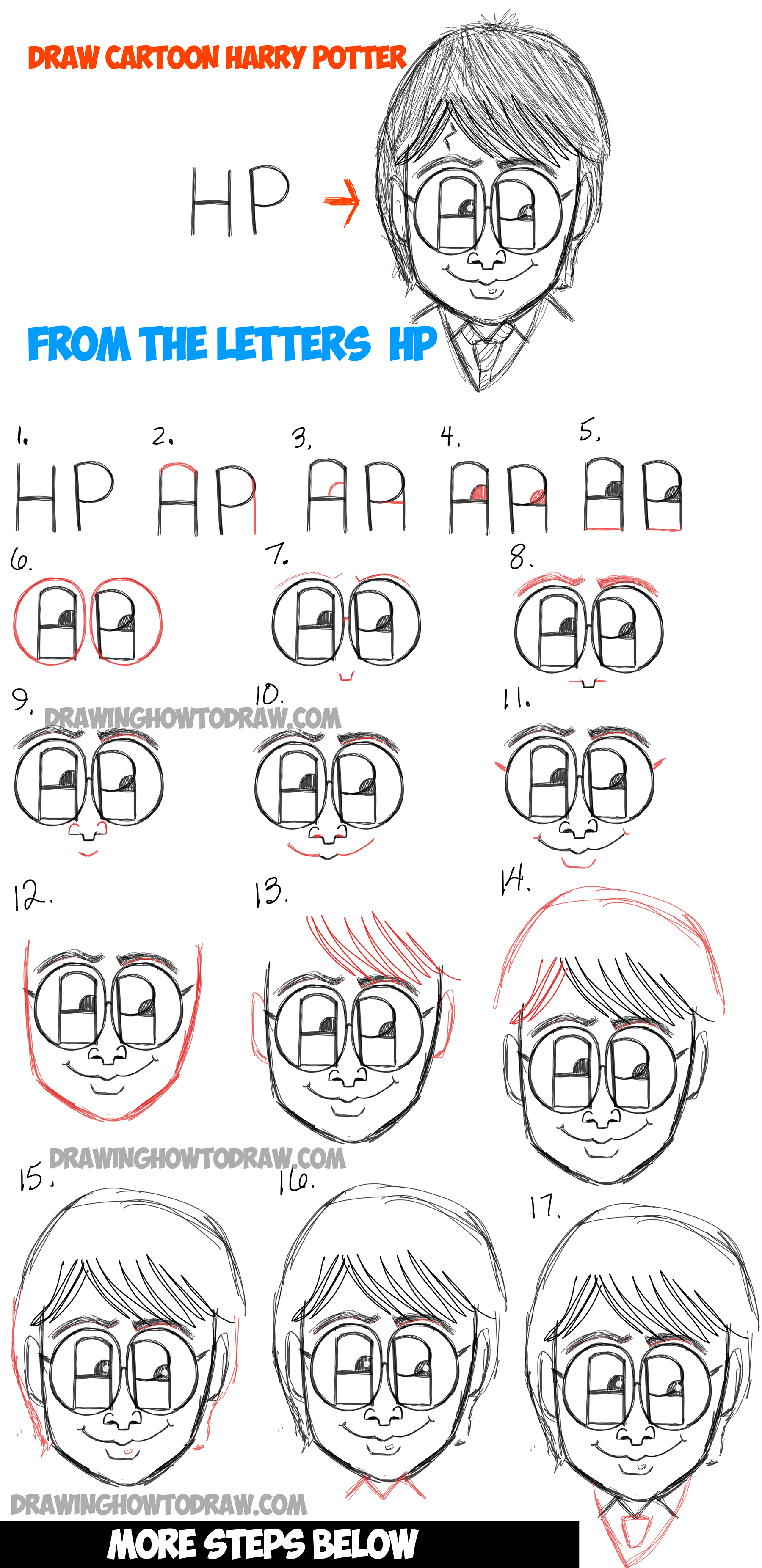Learn how to draw a cartoon harry potter from HP letters