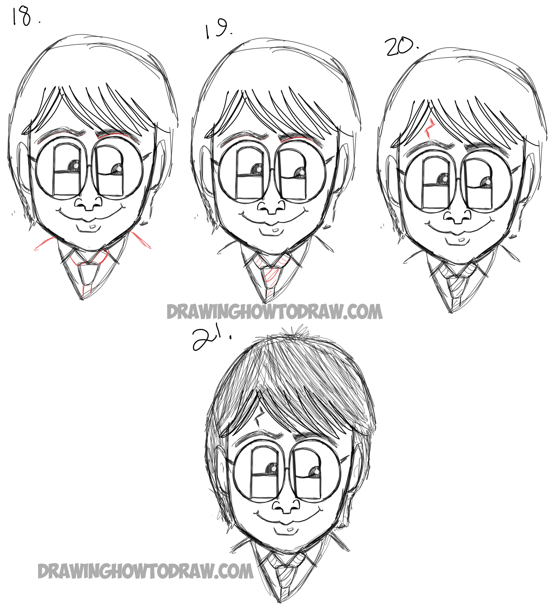 How to draw cartoon harry potter from the letters 39 hp for How to make cartoon drawings step by step