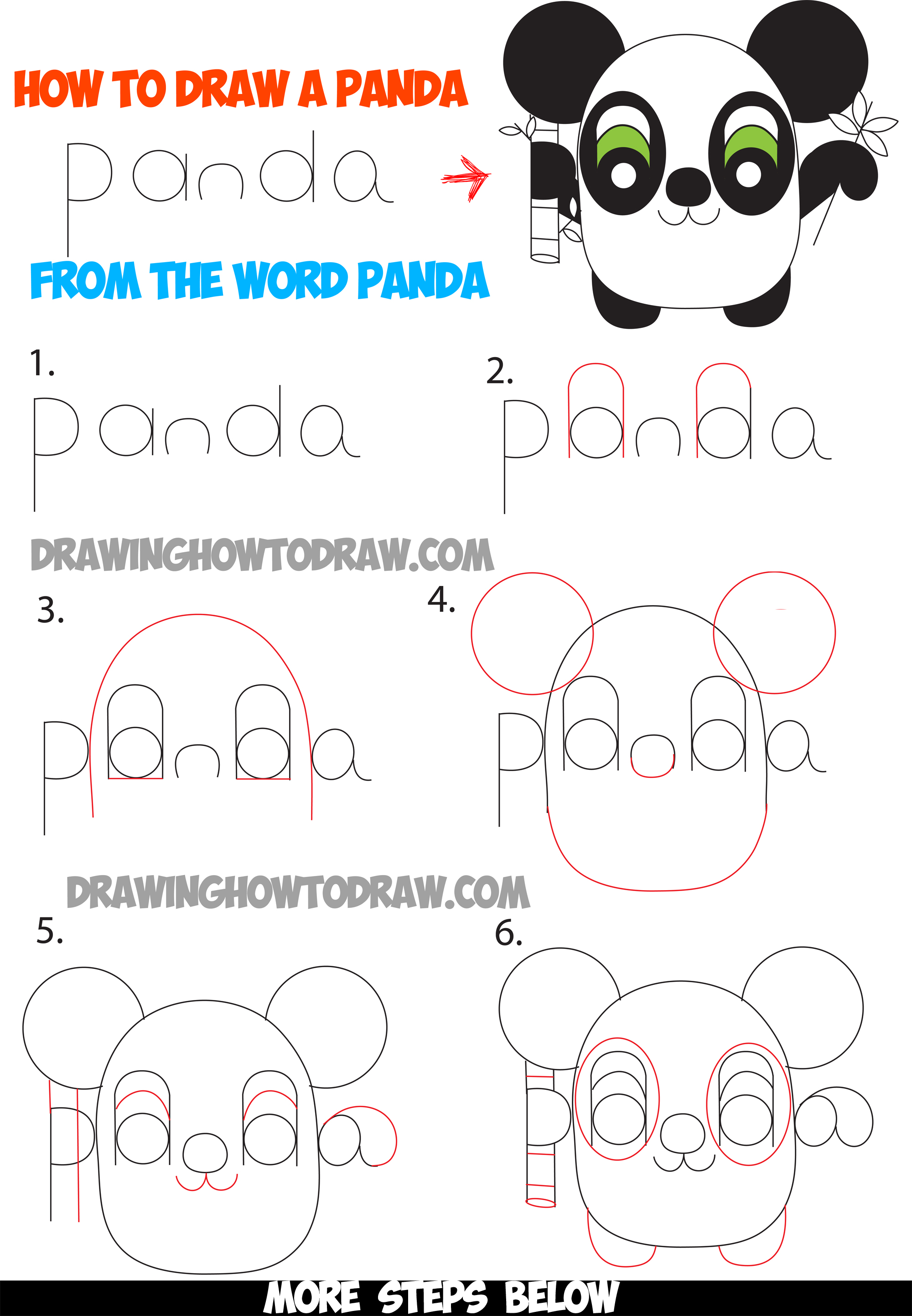 How to draw cartoon pandas from the word panda step by for How to make cartoon drawings step by step