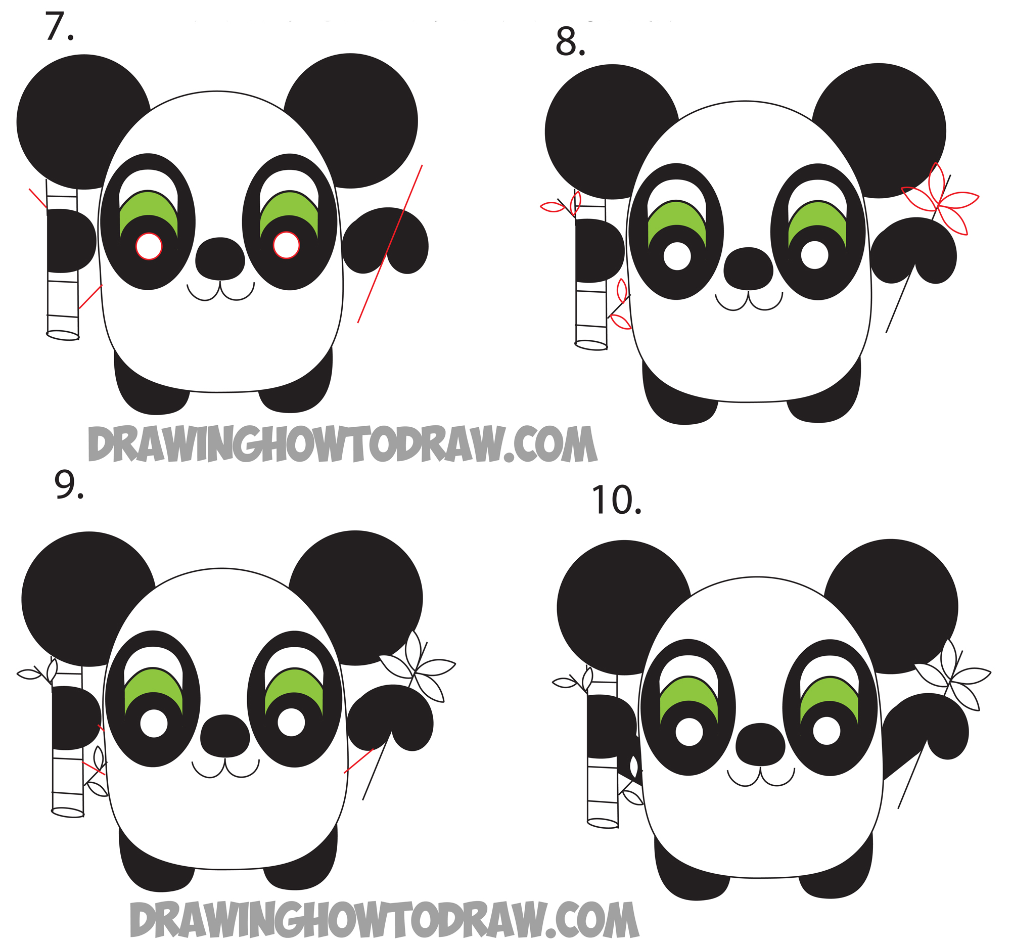 how to draw cartoon pandas from the word panda step by step