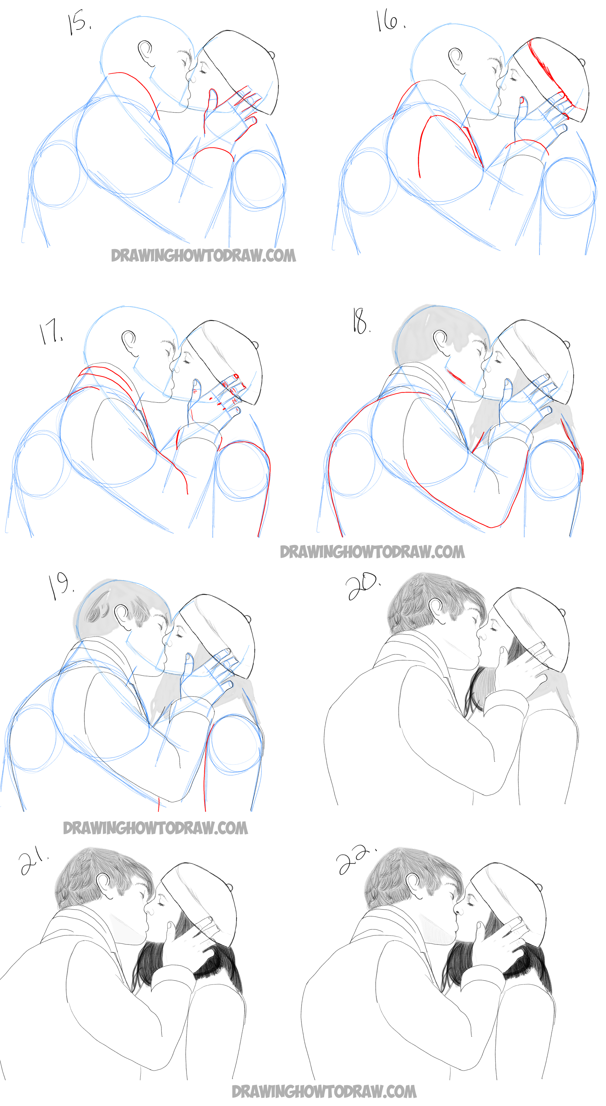 How to draw two people kissing who are in love easy tutorial in steps