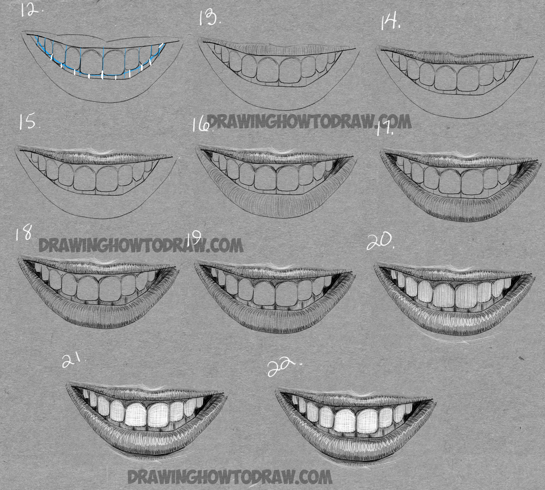 How to Draw a Mouth Full of Teeth : Drawing a Smiling ... Pencil Drawings Of Lips Smiling