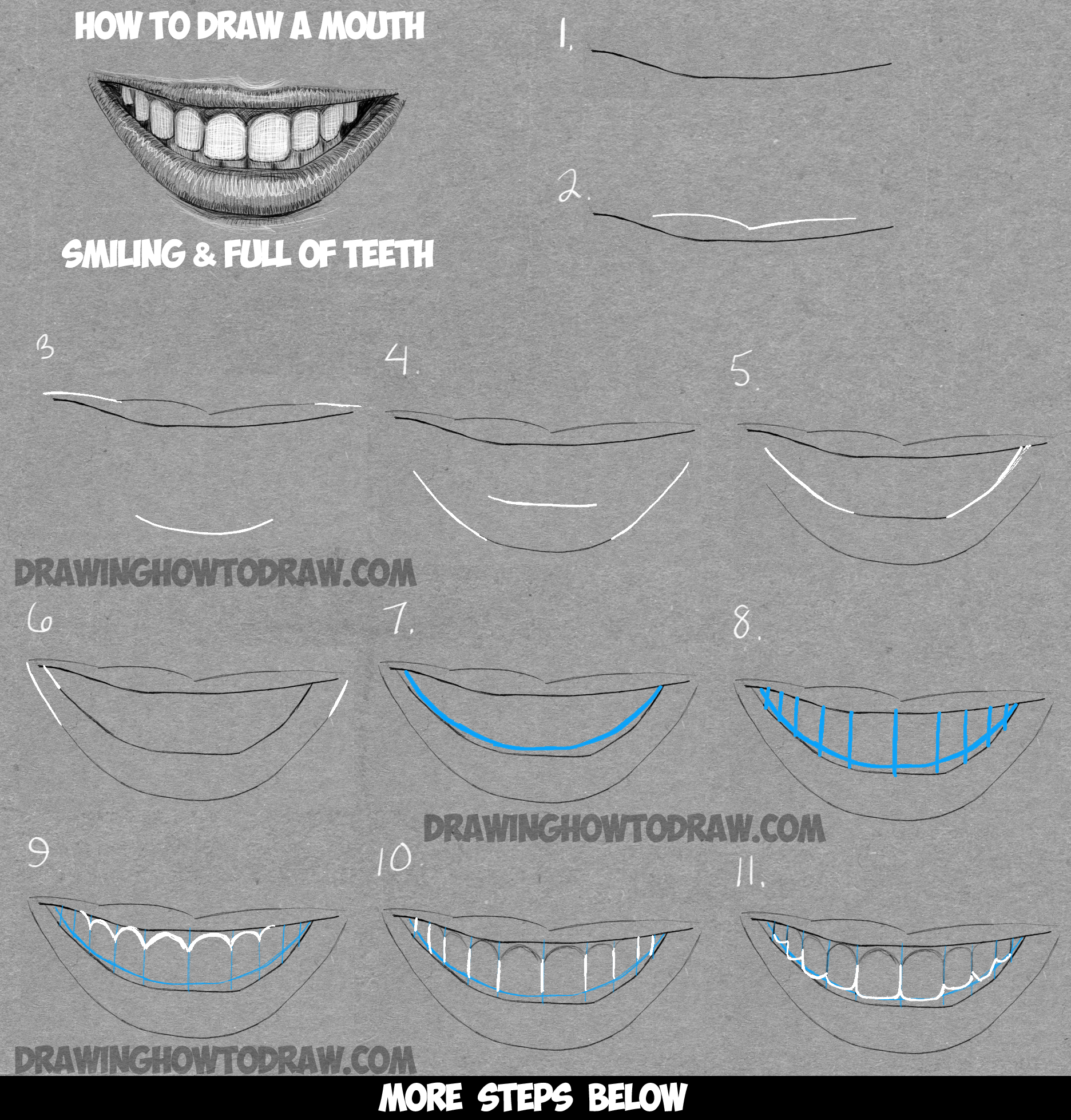 How To Draw A Mouth Full Of Teeth : Drawing A Smiling Mouth And Teeth Step  By Step Drawing Tutorial