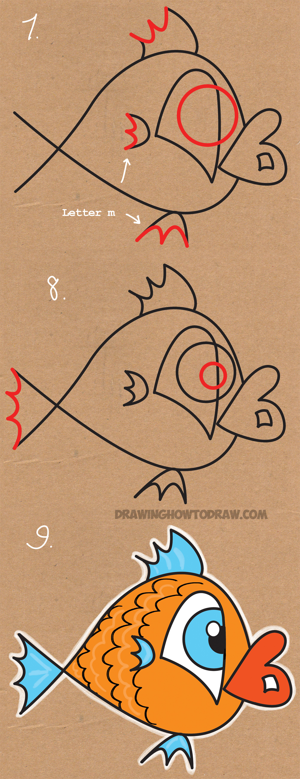 drawing cartoon fish from numbers and letters