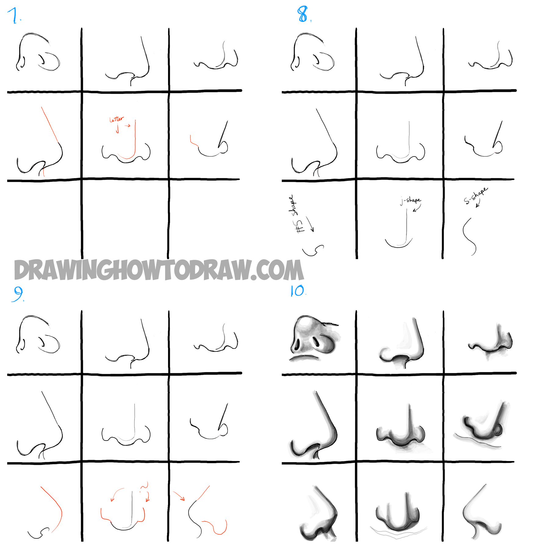 How to draw noses from all different angles and positions step by step drawing tutorial
