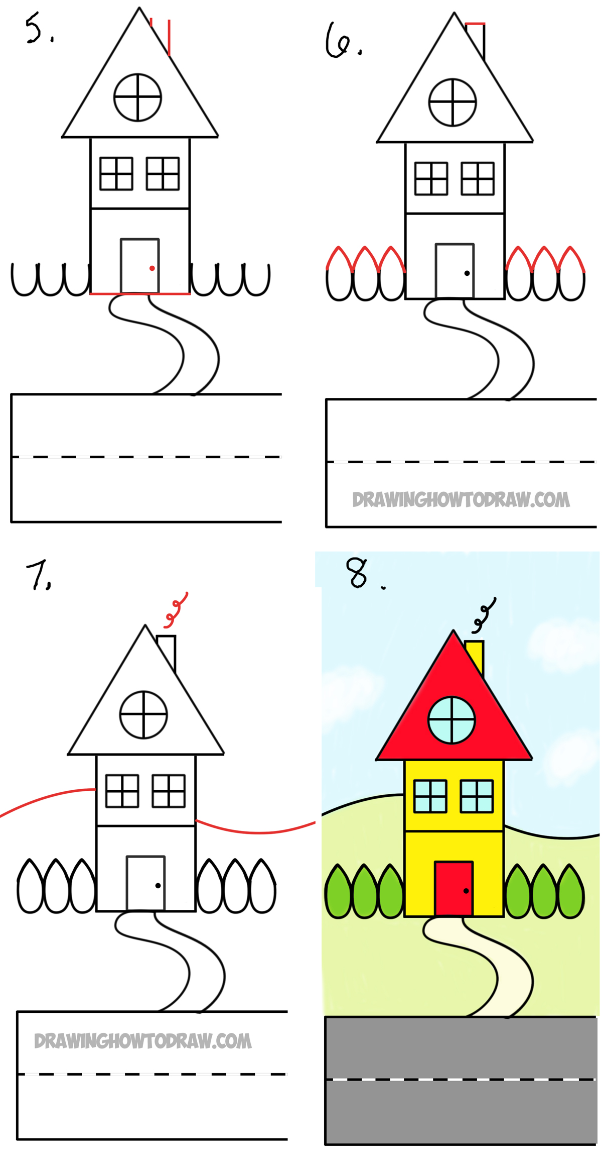 How to draw a cartoon house from the word house an easy for How to draw a two story house step by step