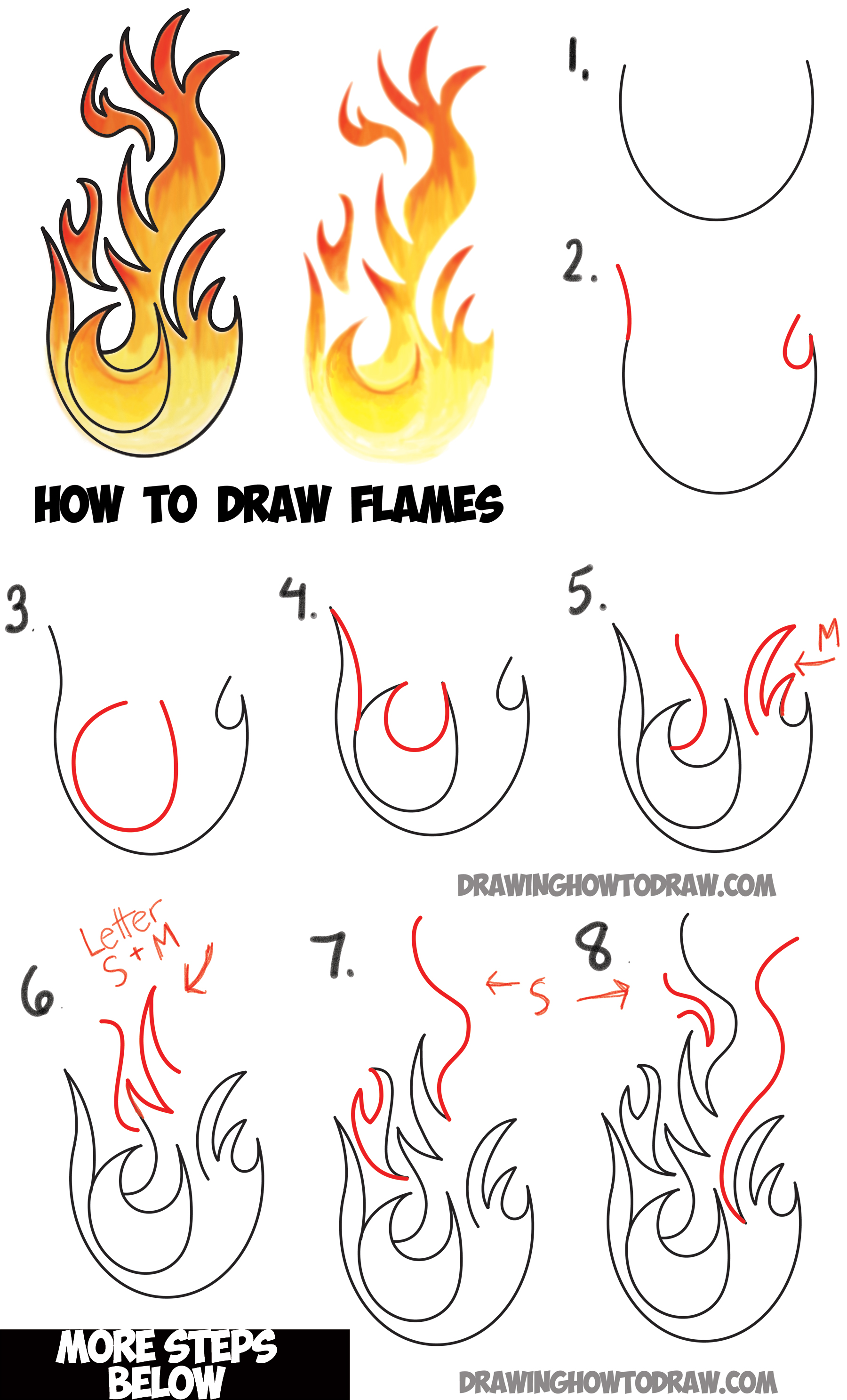 How to draw flames and drawing cartoon fire drawing for How to draw things step by step