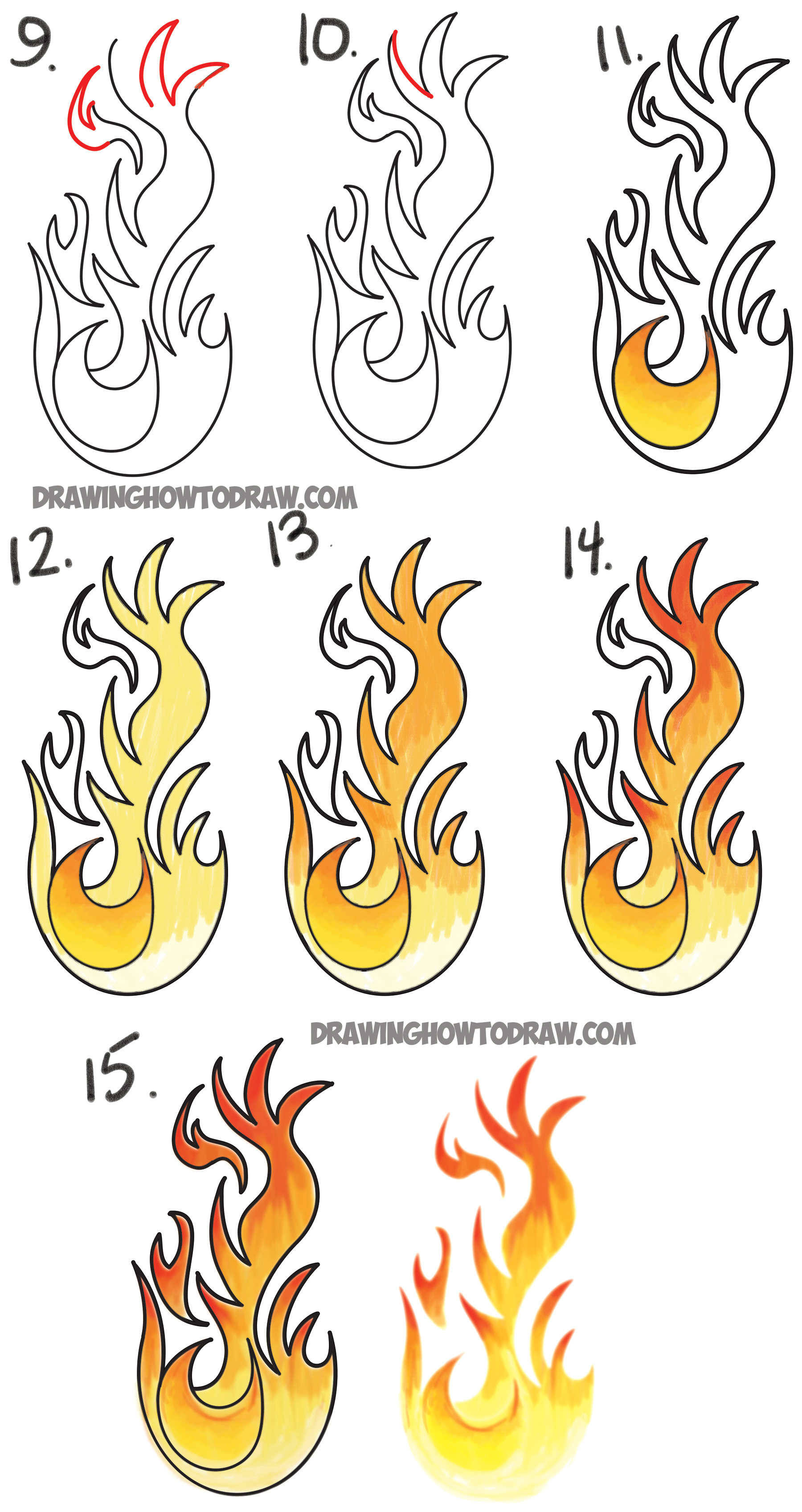 drawing cartoon flames easy step by step drawing tutorial