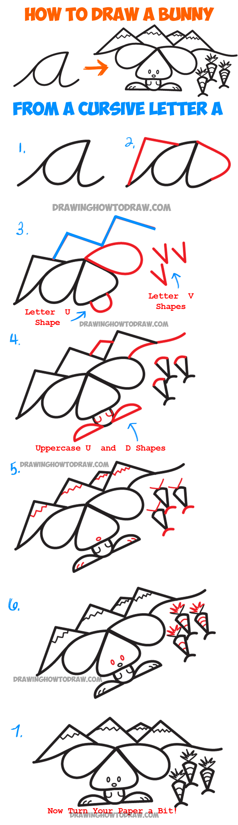 how to draw a cartoon bunny rabbit scene from lowercase cursive