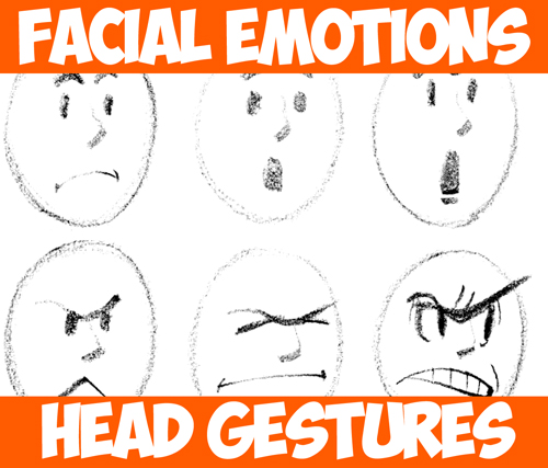 Drawing Cartoon Facial Expressions And Head Gestures How To Draw Step By Step Drawing Tutorials